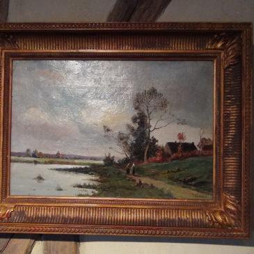 Huile sur toile, paysage animé XIX ème