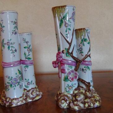 Saint Clément,paire de vases en faïence, attribués à Gallé,  fin XIX