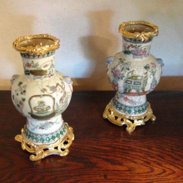 Paire de vases chinois monture bronze doré