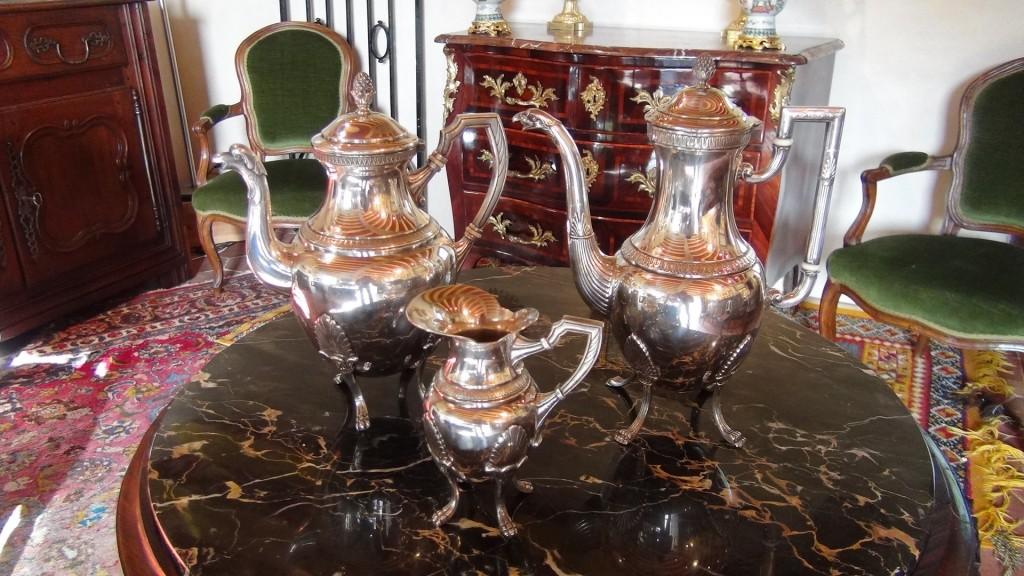 Service à café/thé en métal argenté - Broc-Chic ®