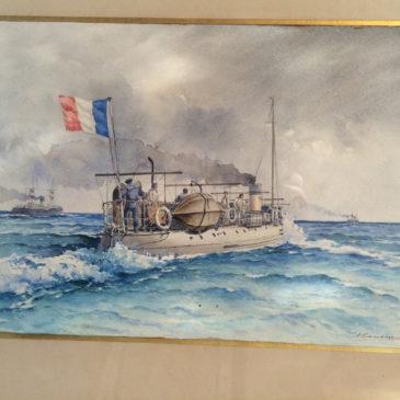 Aquarelle marine, signée Caussin